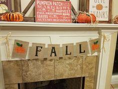 Fall Burlap Banner, Fall Bunting, Burlap Garland, Burlap Flag, Rag Garland, Ribbon Garland, Fabric Garland, Garlands, Fall Fireplace Decor