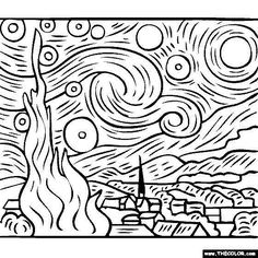 free coloring pages of Vincent Van Gogh paintings – Starry Starry Night. You …, # paintings free coloring pages of Vincent Van Gogh paintings – Starry Starry Night. Art Lessons, Halloween Painting, Art Painting, Starry Night, Embroidery Art, Painting Style, Paintings Famous, Free Coloring Pages, Starry Night Van Gogh