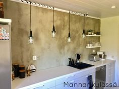 Our new industrial style kitchen! See more pics in my blog mannankylassa.blogspot.fi Industrial Style Kitchen, Kitchen Styling, Track Lighting, Kitchen Dining, Concrete, Ceiling Lights, Wall, Blog, Home Decor