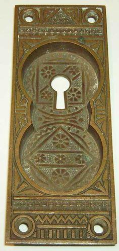 Antique Ornate Victorian Pocket Door Plate - FC Linde - Bronze #FCLinde