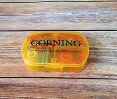 Mini bureaubox met nietmachine, perforator en plakband met bedrukking logo in 1 kleur voor Corning