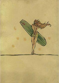 Ocean Inspired Art by surfer/ artist Christie Rigby Illustrations, Illustration Art, Art Plage, Sup Yoga, Surf Art, Surf Style, Ocean Art, Surfs Up, Surf Girls