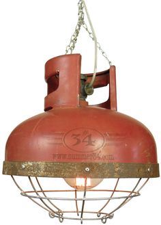 Industrial factory lamp with cage. Made from gas cylinder Industrial factory lamp with cage. Made from gas cylinder Industrial Design Furniture, Industrial Interiors, Industrial House, Industrial Lighting, Industrial Style, French Industrial, Furniture Design, Deco Design, Lamp Design
