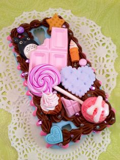 Kawaii Sweetshop Chocolate Deco Case For Samsung by Lucifurious Kawaii Phone Case, Decoden Phone Case, Diy Phone Case, Cute Phone Cases, Iphone Cases, Polymer Clay Sweets, Handmade Polymer Clay, Diy Whipped Cream, Clay Design