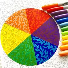"Mental Images Coloring Books (@paivivesala_art) on Instagram: ""Color wheel colored with Sharpies. Coloring book: Mental Images vol 1 (Amazon)"" Adult Coloring, Coloring Books, Zen Colors, Adulting, Color Inspiration, Beach Mat, Outdoor Blanket, Sharpies, Pens"