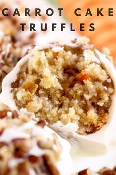 Carrot Cake Truffle Recipe - So, to honor the carrot cake this spring, we have put together a delicious recipe for carrot cake truffles that you are sure to love. Grab the recipe below! Candy Recipes, Sweet Recipes, Baking Recipes, Dessert Recipes, Mini Desserts, Just Desserts, Oreo Dessert, Cake Truffles, Cupcakes
