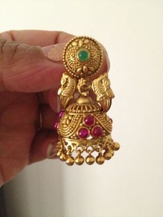 Temple collection Jhumka with original pine stones, finely crafted.