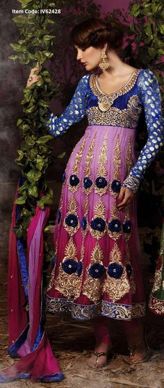 Get Latest Divine Deep Pink & Navy Blue Salwar Kameez From Gravity Fashion @US$ 155.23