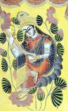 Saraswati. Painting in the Kalighat style. Calcutta, India, 1870  Kalighat painting evolved as a unique painting style in the rapidly urbanizing cityscape of 19th-century Kolkata. Reflecting a new language, these paintings recorded the changes in lifestyles, values, and a new visual vocabulary brought forth by lithographic presses and studio photography. The artists who developed the Kalighat painting style were traditional scroll painters (patuas). In catering to the transient, urban…