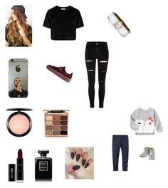 """Looking after the doggies and kids at home whilst daddy and family go to a funeral"" by bellzellz ❤ liked on Polyvore featuring River Island, Puma, Caravelle by Bulova, Reclaimed Vintage, MAC Cosmetics, Stila, Chanel and Gymboree"