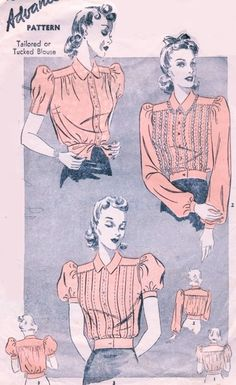 FABULOUS Late 1930s Tailored or Tucked Blouse Pattern ADVANCE 2275 Pretty Puff Sleeves 3 Styles Overblouse Bust 36 Vintage Sewing Pattern FACTORY FOLDED