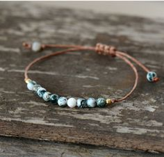 Natural Stone Bead Friendship Bracelet, Dalmatian Jasper Beaded