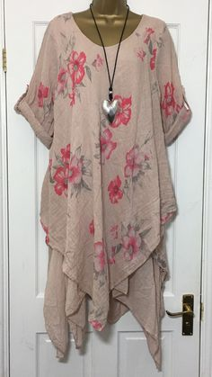 NEW ITALIAN LAGENLOOK LAYER FLORAL LINEN MIX TUNIC DRESS PINK 14 16 18 20 C26 #Madeinitaly #TunicDress #Casual