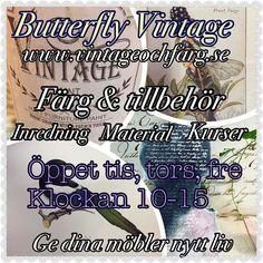 Mina #öppettider på #butterflyvintage #nordiskamöbelfabriken #ödeshög