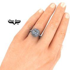 Cushion Cut Engagement Ring, Gold Engagement Rings, 3 Carat, Wedding Matches, Moissanite, Trek, Clarity, Wedding Bands
