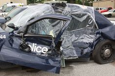 Even inside a car, police work is dangerous. These cars were wrecked within the last couple weeks. The officers invloved in the wreck was not their fault and they were not injured.