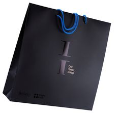 asa cordão de algodão azul impressão 2 cores + impressão a ouro verniz UV localizado plastificação mate