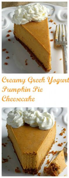 Creamy Greek Yogurt Pumpkin Pie Cheesecake - a gorgeously silky pumpkin cheesecake! Perfect for the Holiday dessert table!