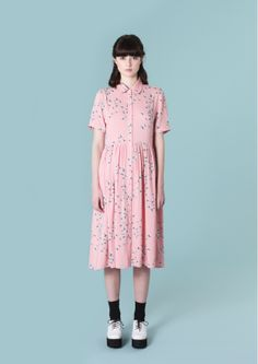 Pink Shirt Dress in Floral Print