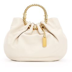 Michael Kors Skorpios Textured Leather Ring Tote Bag-Cream and Gold