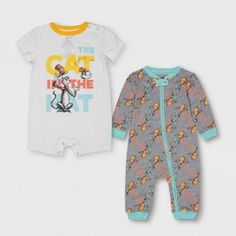 Baby Dr. Seuss 2pc Long Sleeve And Short Sleeve Bodysuit Set - Gray/White 0-3M : Target