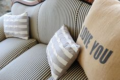 I love the new ticking fabric on the couch @cedarwoodwed