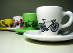 Tour de France. Espresso cups w/saucers, set of 4. Made to Order. OHMYGOSH I LOVE THESE.