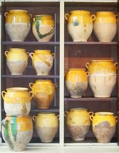 Antique French Confit Pots. These would be so pretty as container garden pots