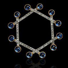 CARTIER Paris.c1908.Platinum, sapphire and diamond open 'Snowflake' brooch - Hancocks