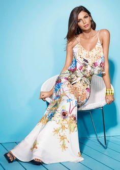 REETA - Tropical Print Maxi Dress Leavers Ball Dresses 529a91986
