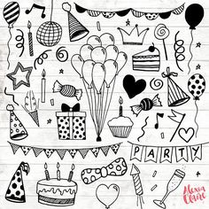Party Clipart - 30 Hand Drawn Party Invite Cliparts - Logo Art - Party Invitation Elements - Balloons Illustration - 76 - Get some adorable hand drawn birthday party clipart clipart, perfect for logos, invitations, birthd -Birthday Party Clipart - 30 H. Birthday Party Clipart, Happy Birthday Cards, Diy Birthday, Card Birthday, Birthday Greetings, Birthday Ideas, Birthday Balloons, Birthday Logo, Clipart Party