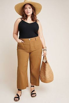 Wide-Leg Trousers - Plus Size Anthropologie Wide-Leg Trousers in Blue Size: Women's Pants Informations About Wide - Plus Size Fashion For Women, Plus Size Womens Clothing, Size Clothing, Plus Size Dresses, Plus Size Outfits, Plus Size Pants, Outfits Pantalon Negro, Look Plus Size, Plus Size Summer