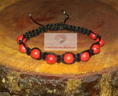 MENS ADJUSTABLE BRACELET Black Cord and Red Turquoise by RodconPR