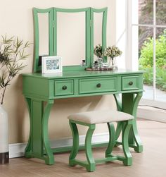 OC Furniture - Dulce Apple Green Vanity Desk with Mirror, $266.00 (http://www.ocfurniture.com/poundex-f4117-dulce-apple-green-vanity-desk-with-mirror/) #vanitytable