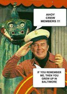 Captain Chesapeake & Moandie the sea monster (now Traffic Jam Jimmy.)  George Lewis played the Captain. He was also a communications Professor at Towson State University.