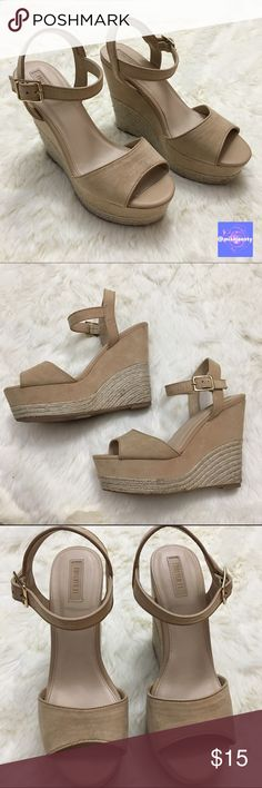 2017 SALE 🍾 Nude, Suede Wedges Heels have gentle wear with slight discoloration on the heel as shown in photos. Otherwise in great condition. I'm happy to answer any questions so if you're unsure about something, just ask! Bundle and save 15% 💕✨ Forever 21 Shoes Heels