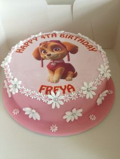 Little girls paw patrol birthday cake