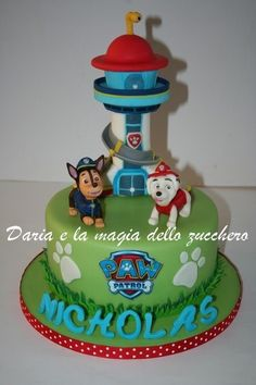 My cake Paw Patrol for Nicholas. The cake is stuffed with camy cream and strawberry gelèè and covered with sugar paste. Paw Patrol Birthday Cake, 4th Birthday Cakes, Paw Patrol Party, Boy Birthday, Birthday Ideas, Paw Patrol Tower, Cake Disney, Paw Patrol Lookout, Torta Paw Patrol