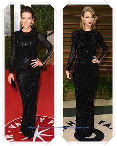 Un vestido de lentejuelas negras de Julien Macdonald lo llevo Kate Beckinsale a la fiesta de Vanity Fair de los Oscar 2011; después se lo vimos a Taylor Swift en la misma fiesta pero en los Oscar 2014.