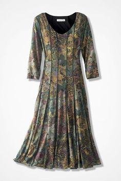 Floral Mesh Knit Dress, Grey