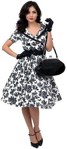 a8f012caaf26 Hell Bunny 1950s Style Black  amp  White Floral Button Up Honor Swing Dress  Rockabilly Fashion