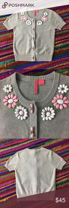 Gray Beaded Summer Sweater By Charlotte Tarantola Oh so sweet sweater by Charlotte Tarantola sold at Anthropologie !! Heavily beaded front - detailed flowers along collar & hidden snap button plank. Made of 100% Cotton, Size Small and bust measured flat is approximately 14.5. In excellent preowned condition- see pics for beading and sweater condition and color. Anthropologie Sweaters Crew & Scoop Necks