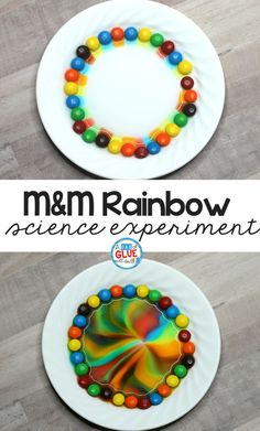 Are you looking for a simple science experiment to do in your classroom? This M&M Rainbow Science Experiment is a fun and easy way to teach children about mixing colors and creating new colors. This is also the perfect experiment to teach your students how sugar dissolves when mixed with warm water. #sciencexperiment #candyscience