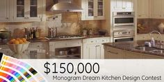 GE is giving away $150,000 USD in cash prizes! All you have to do is put your imagination to work & design your dream kitchen! Click the link to see official rules and pass by Standard TV & Appliance to get inspiration from our collection of GE Monogram appliances. http://www.monogram.com/kitchen-design-contest/?omni_key=PB_DesignSweeps