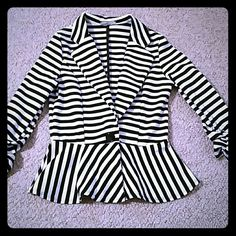Black and White Striped Peplum Blazer size small This blazer is adorable and only worn once. In flawless condition. Perfect for business casual. Charlotte Russe Jackets & Coats Blazers