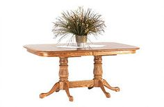 Casual Elegence - red oak in a light stain on a Queen Anne style dining room table | Finish Options - Wood species & stains for your handcrafted furniture | The Amish Home at Pittburgh Mills