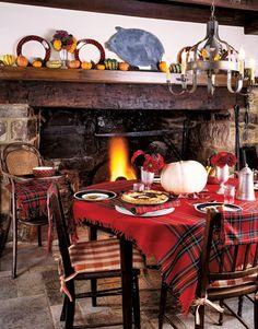 From Martha Stewart . . . use a tartan shawl as a table cloth.