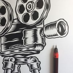 Projector on the drawing board for @sheffdocfest & @expmagsheff. Rotring #Isograph on Bristol Board. by tomjnewell