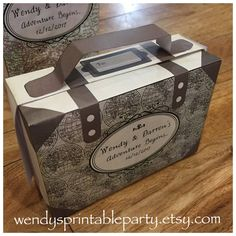 Personalised Vintage Maps / Travel Themed Suitcase Treat Box Template (Printable by You & DIY) see description for dimensions / details etc by WendysPrintableParty on Etsy