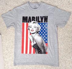 MARILYN MONROE AMERICAN FLAG T-SHIRT Gray/Red/White/Blue Star And Stripe MED&LRG #MarilynMonroe #GraphicTee